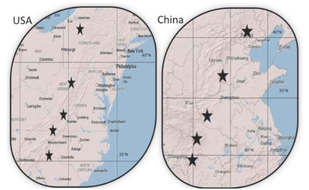 Markers indicate study plots in the eastern US and China. Transects span similar latitudes and have similar climates.